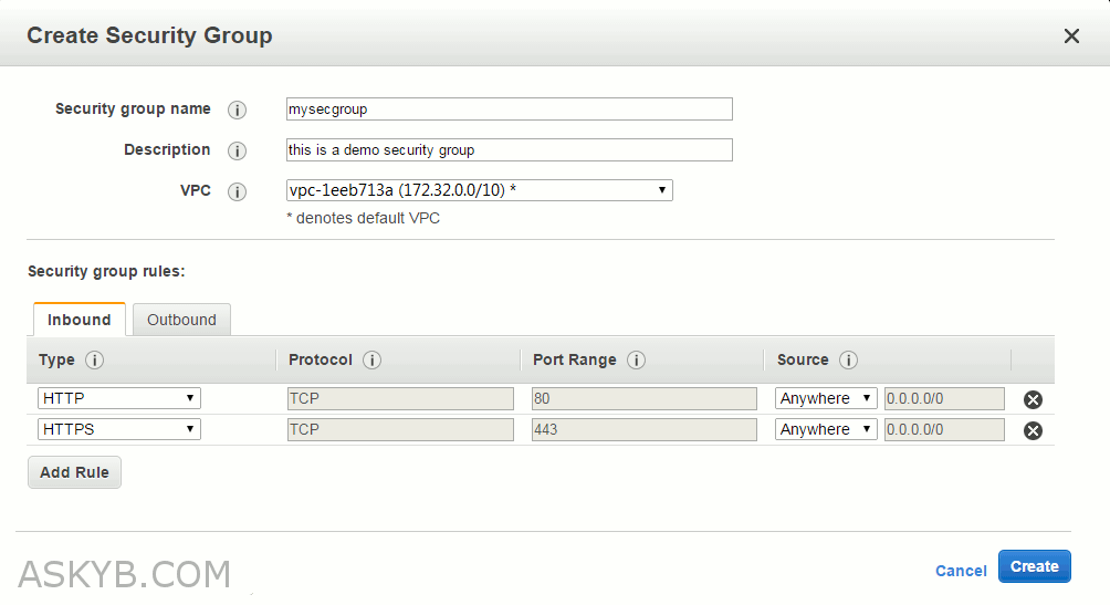 Create an Amazon EC2 Security Groups